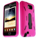 For Samsung Galaxy Note Cover Hard Black/ Soft Pink Armor Case W/Stand