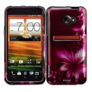 Car Charger + Cover Hard Case L-Flower +Screen Protector For HTC Evo 4G LTE