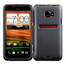 For HTC Evo 4G LTE Cover Hard Phone Case Carbon Fiber + Screen Protector 2-in-1