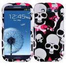 Phone Case For Samsung Galaxy S III Hard Cover P-Skull + Screen Protector 2-in-1