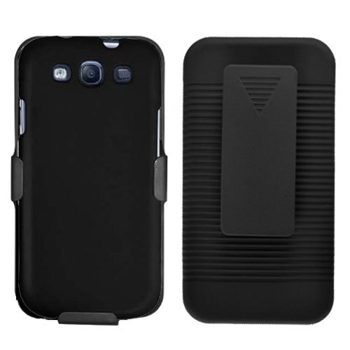 Phone Case For Sprint Samsung Galaxy S III Hard Cover Black +Holster Belt Clip +Stand