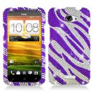 Phone Case For HTC One X Cover Crystal Bling Purple Zebra
