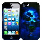 For Apple iPhone 5 / iphone5 Cover Blue Skull Hard Case +Screen Protector