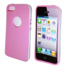 For Apple Iphone 5 / Iphone5 Case Leather texture Pink/White Cover
