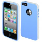 For Apple Iphone 5 / Iphone5 Case Leather texture Blue/White Cover