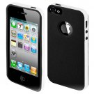 For Apple Iphone 5 / Iphone5 Case Leather texture Black/White Cover