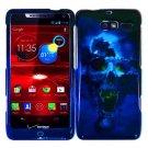 For Motorola Razr i Phone Case Blue Skull Hard Cover +Screen Protector XT890