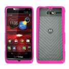 For Motorola Electrify M Phone Case Soft Edge Pink/Frosted Clear Hard Cover +Screen Protector
