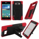Phone Case For LG Splendor / Venice US730 Hard Black/Red Soft Corner Hybrid Cover + Stand