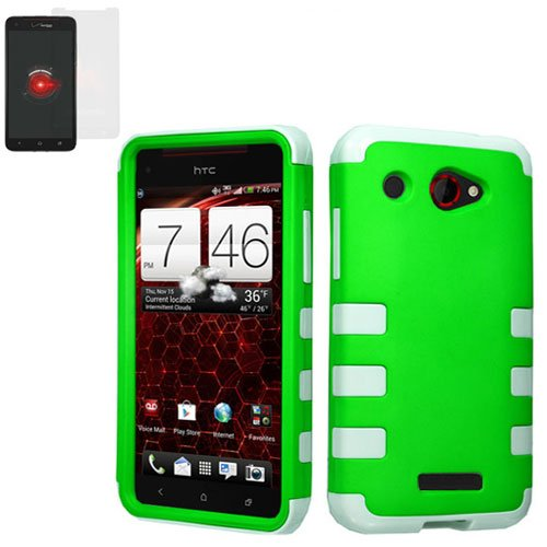 Phone Case FOR HTC Droid DNA / 6435 Case Hard Green/ White TPU Hybrid Cover +Screen