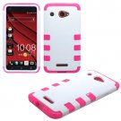 Phone Case FOR HTC Droid DNA / 6435 Cover Hard White/Pink Hybrid Case +Screen Protector