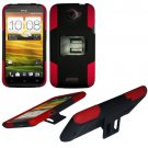 Phone Case For HTC One X Hard Cover Black /Red soft edge + Kick Stand