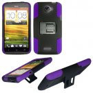 Phone Case For HTC One X + Hard Cover Black /Purple soft edge + Kick Stand