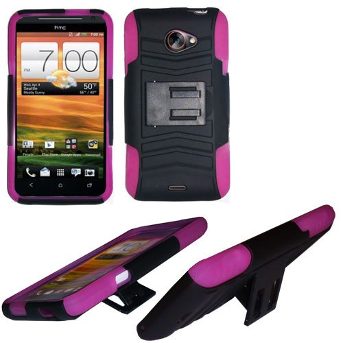 Phone Case For HTC Evo 4G LTE Hard Cover Black /Pink soft edge + Kick Stand
