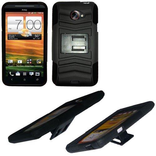 Phone Case For HTC Evo 4G LTE Hard Cover Black /Black soft edge + Kick Stand