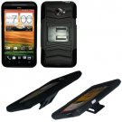 Phone Case For HTC Evo 4G LTE Hard Cover Black /Black soft edge + Kick Stand