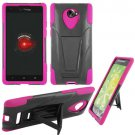 Phone Case For HTC Droid DNA / ARD6435 Hard Case Black/Pink soft edge Cover + Kick Stand