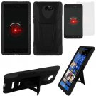Phone Case For HTC Droid DNA / ARD6435 Hard Case Black/Black soft edge Cover Stand +Screen