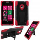 Phone Case For Nokia Lumia 521 520 Silione Corner Red/Black Hard Cover Stand