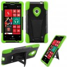 Phone Case For Nokia Lumia 521 520 Silione Corner Neon Green/Black Hard Cover Stand