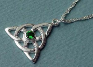 Emerald Green Irish Charmed Celtic Knot Necklace CH-EM Sterling Silver Pendant and Chain