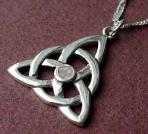 Opal Celtic Charmed Necklace CH-OP Sterling Silver Triquetra Pendant and Chain