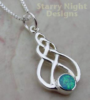Blue Opal Celtic Necklace Sterling Silver Pendant and Chain BOP1