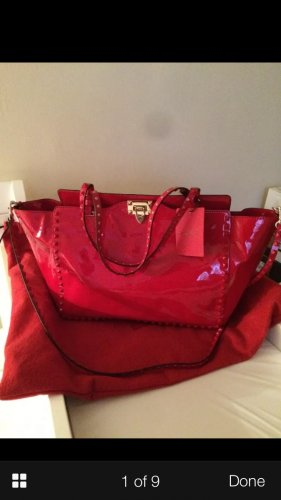 *SOLD*Brand New - Authentic Valentino Rockstud Patent Red Trapeze Bag