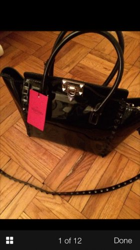 $2295 Valentino Garavani Blk Patent Leather Rockstud Mini Crossbody