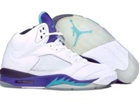 Jordan Retro 5 L S Wht/Grn/Grape
