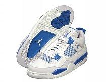 Jordan Retro 4 Wht/MBlu/Grey
