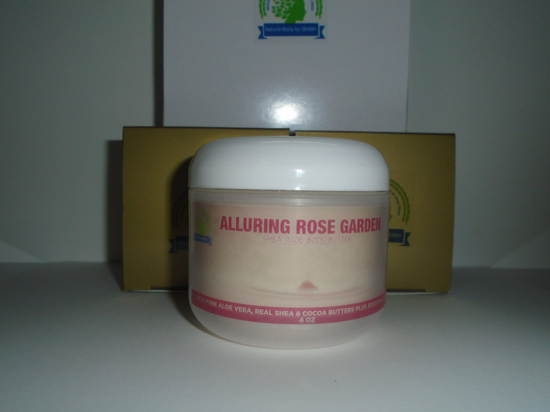 Shea Aloe Body Butter, 4 oz/120 ml (95% Organic) Rose Garden Scent great 4 skin