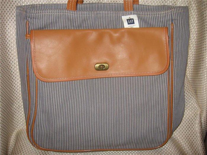 Gap Gray Striped Heavy Cotton Leather Tote Bag Handbag Purse New