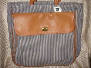Gap Gray Striped Heavy Cotton Leather Tote Bag Handbag Purse New