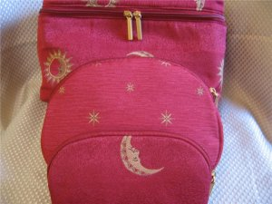 Large Red w/ Gold Moon Star Design 3 Pcs Cosmetic Travel Set New