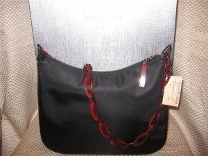Donna Karan DKNY Black Microfiber w/ Red Lucite Strap Handbag Purse New