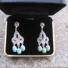 Turquoise & Marcasite Sterling Silver Chandelier Earrings New