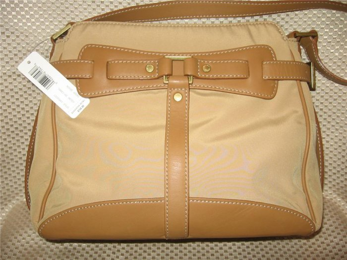 Ellen Tracy Tan Camel Microfiber Leather Purse Handbag New