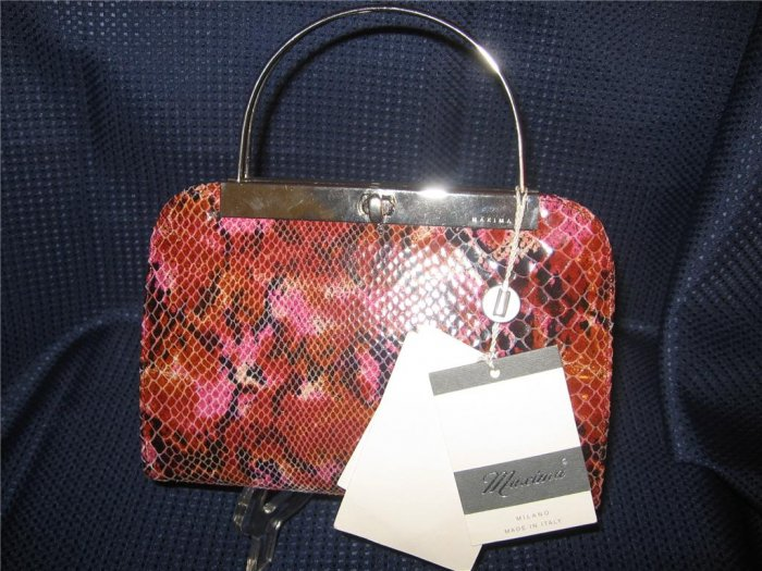 Maxima - Milano, Italy Multi-Color Leather Snake Skin Design Purse Handbag New