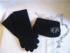 Black Velvet Gloves  Purse Handbag Set Removable Pin New