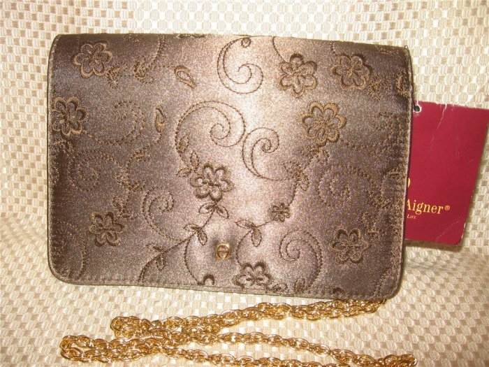 Eitenne Aigner Brown Satin Embrodery Detail Gold Chain Strap Evening Handbag Purse New