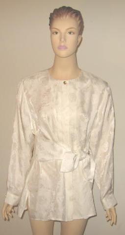 Bob Mackie White Silk Blouse & Matching Sash Size L New