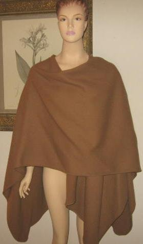 Wool Light Brown Wrap Shawl by Vantana Italy 1 Size Fits All New