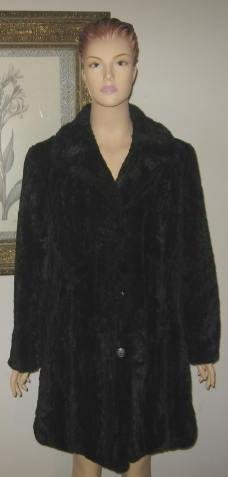 Black Faux Fur Classic Tailored Coat Size M New