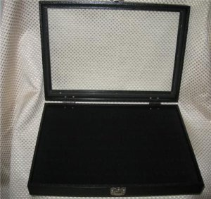 Black Glass Top Ring Display Case New