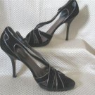 Nine West Black Suede Black Metalic Leather Trim Peep Open Toe High Heel Shoes Size 8.5 M New
