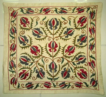 ZBEK SILK HAND EMBROIDERED SUZANI PILLOW CASE