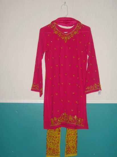 Shalwar Kameez - Pink and Yellow Georgette