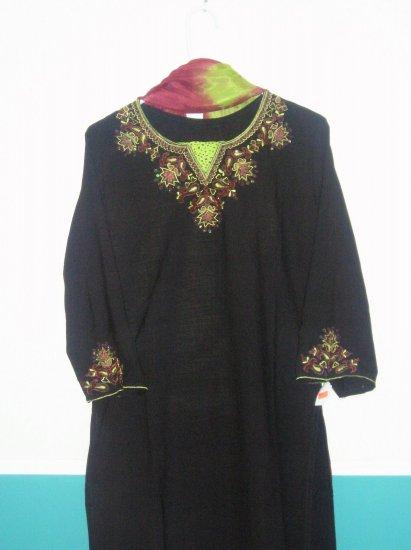 Shalwar Kameez - Black, Pink and Greeen Polyster