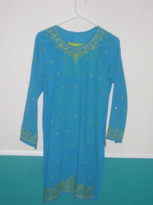 Pajama  Kameez - Blue and Green Georgette